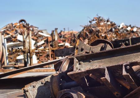 metal scrap: Metal scrap on pile in junkyard. Pollution, recycling and environmental concept