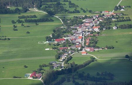 arial: Arial view of Sneebergdorfl village seen from top of Schneeberg mountain in Austria