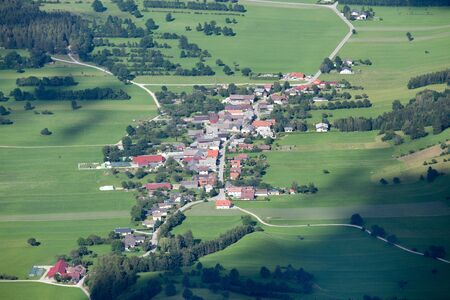 schneeberg: Arial view of Sneebergdorfl village seen from top of Schneeberg mountain