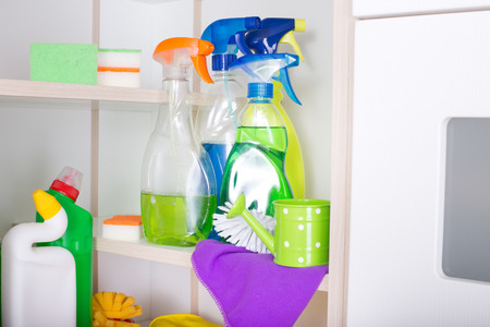 Cleaning Supplies And Tools Stored On Shelves In Storage Place Stock Photo    61493092