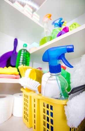 Cleaning Supplies And Tools Stored On Shelves In Storage Place Stock Photo    61493094
