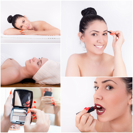 Beauty concept. Collage of girl applying makeup in bathroom Stock Photo