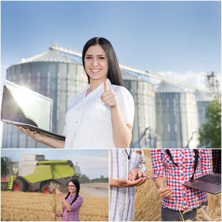 agronomist: Barley harvesting and grains storing collage. Set of images with young woman engineer following cereal production process