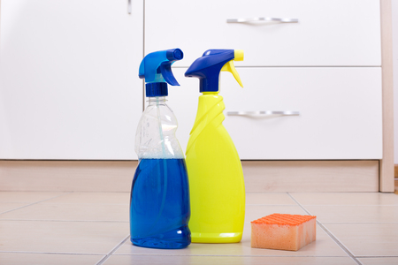 Tile Floor Scrubber ceramic tile floor cleaner machine Floor Scrubber Two Spray Bottles With Scrubber Sponge On The Tiled Floor In The Kitchen