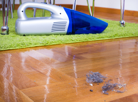 handheld device: Close up of dust on parquet floor in front of cordless vacuum cleaner. House keeping concept Stock Photo