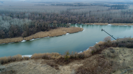 River landscape in winter time shoot from air with drone