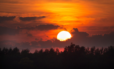 Beautiful sunset over forest with big round sun hiding behind dramatic clouds on orange sky