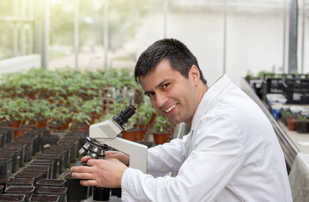agronomist: Biologist in white coat sitting beside microscope in green house and researching sprouts growth. Plant protection concept