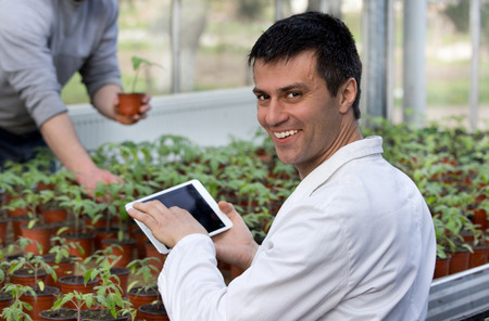 Biologist in white coat holding tablet and looking at camera in front of sprouts in pots in greenhouse. Worker with seedlings in background. Plant protection concept