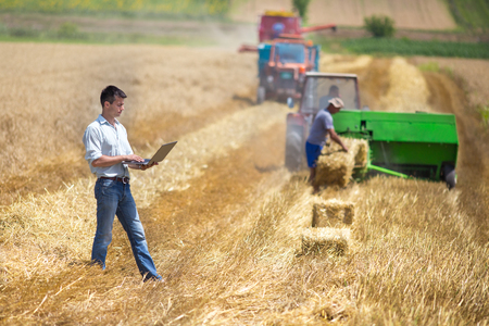Handsome young farmer with laptop standing in wheat field during harvest an baling works in summer. Innovations in agricultural technologies