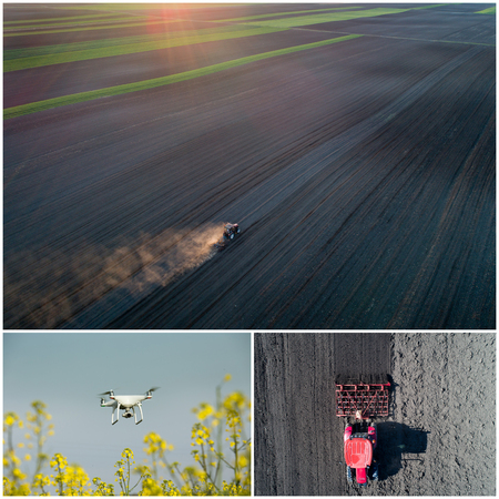 harrowing: Collage of aerial images of agricultural works in field shoot from drone Stock Photo