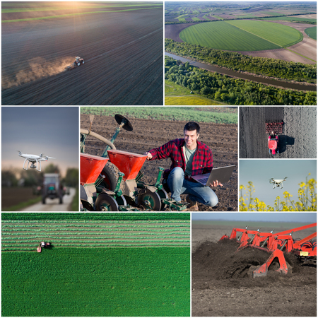 the arable land: Collage of aerial images of agricultural works in field shoot from drone Stock Photo