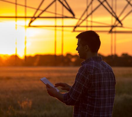 麦畑で夕暮れ時のタブレットの立っている背景での灌漑システムで若いハンサムな農家