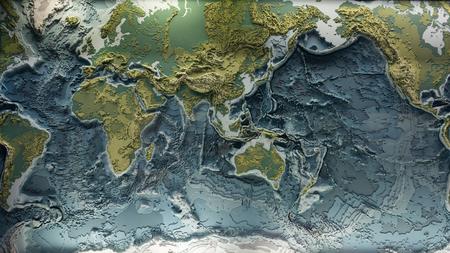 Modèle imprimé en 3D du relief de la terre avec les hauteurs topographiques des montagnes et la profondeur des océans