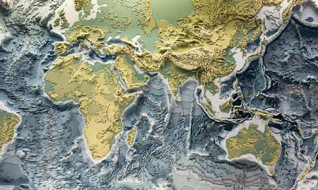 Modèle imprimé en 3D du relief terrestre avec les hauteurs topographiques des montagnes et la profondeur des océans
