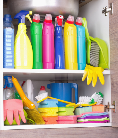 Cleaning Products Placed In Kitchen Cabinet Under Sink. Housekeeping ...