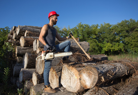 Young attractive lumberjack with beard standing on stacked trunks and holding chainsaw and ax Stock Photo