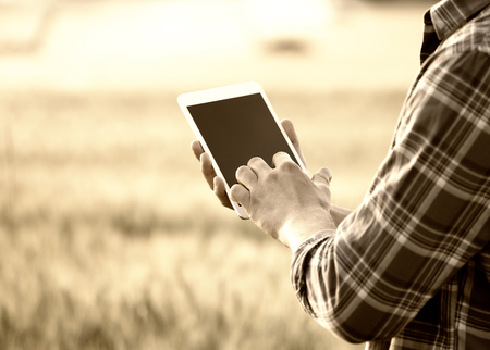 Close up of farmers hands holding white tablet with blank screen in front of wheat field. Technology innovation in agricultural production. Sepia image technique
