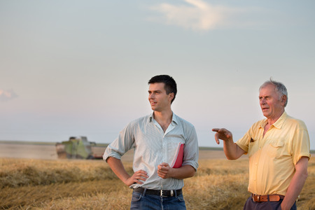 Two farmers standing on wheat field at harvest with combine harvester working in background Stock Photo