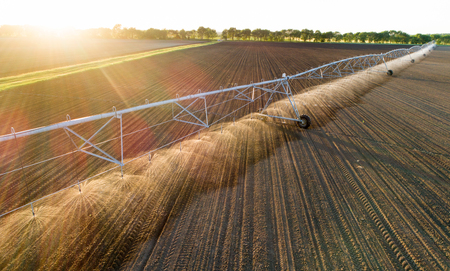 Aerial image of center pivot irrigation system working on round field at sunset in spring
