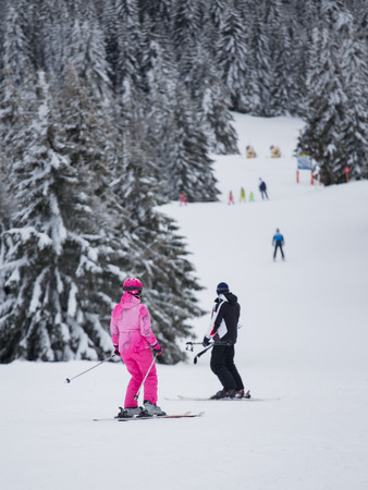 Rear view of people skiing on slope of Kopaonik mountains in Serbia. Winter sports and holiday concept Stock fotó