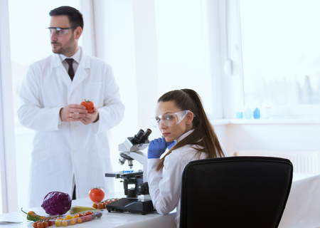 Two scientists doing testing on vegetables with microscope in laboratory