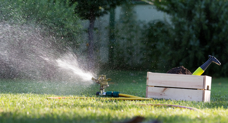 Watering lawn in garden. Splashing drops from hose and gardening sprayer