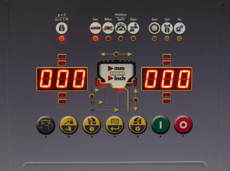 Display of modern device for wheel balancing 写真素材