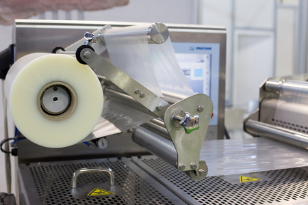 Stretched foil on packaging machine in food industry