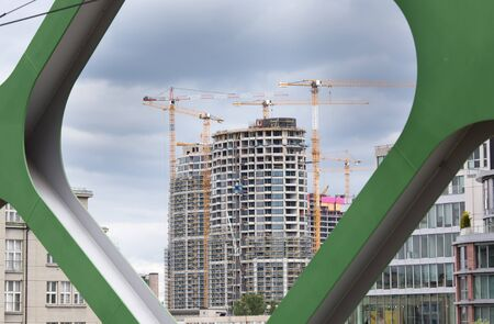Urban cityscape of new buildings under construction