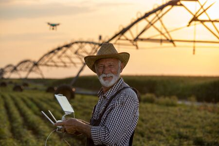 Portrait of old farmer driving drone above field and irrigation system at sunset Stok Fotoğraf