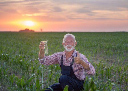 Granjero senior en cuclillas junto al pluviómetro en el campo de maíz al atardecer y mostrando el pulgar hacia arriba Foto de archivo