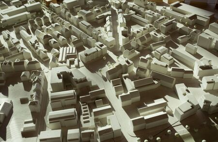 Model of city Heilbronn in Germany, with monochrome reduced forms of buildings in downtown Standard-Bild