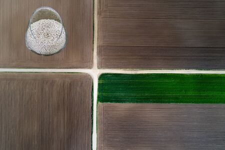 Collage of agricultural images of aerial view of field with fertilizer in bowl