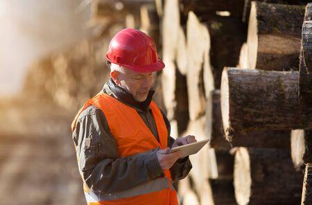 Portrait of mature engineer working on tablet beside tree trunks