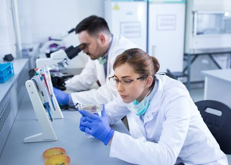 Team of experienced biologists working on samples in laboratory