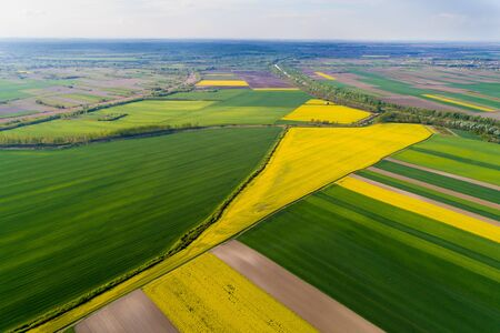 Aerial image of agricultural fields in different colors in springtime shoot from drone