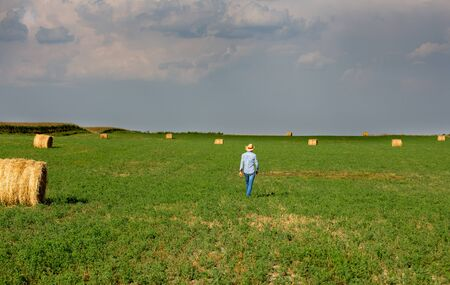 Rear view of handsome farmer in plain shirt with straw hat walking in field with bales