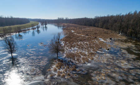 Winter landscape of river in forest of plains shoot from drone