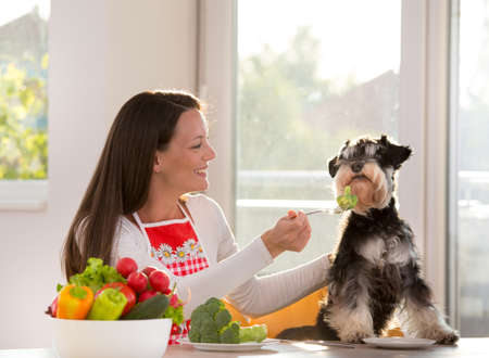 Happy girl feeding unhappy dog with broccoli at kitchen table