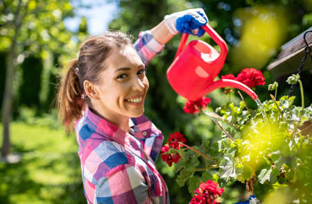 Pretty young woman in plaid shirt watering flower in pot with small red water can. Gardening summer concept