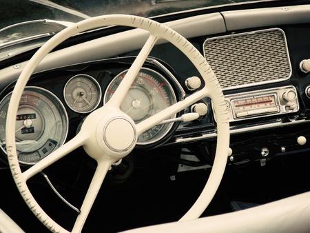 ビンテージ車のコックピット 写真素材
