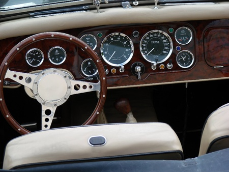 vintage car cockpit Banque d'images