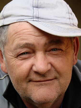 detail of a man with a cap                     Stock Photo