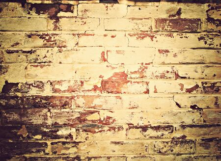 an old yellow, red wall photo