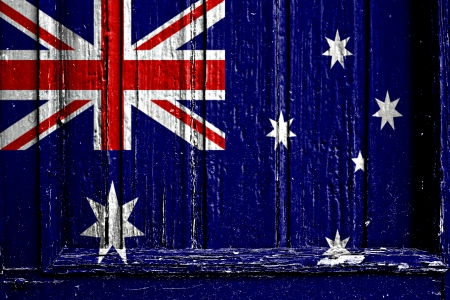 flag of Australia painted on wooden frame Stock Photo