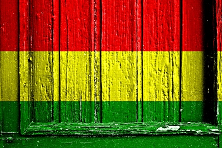 flag of Bolivia painted on wooden frame photo
