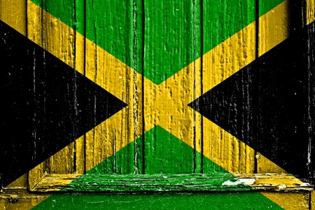 flag of Jamaica painted on wooden frame photo