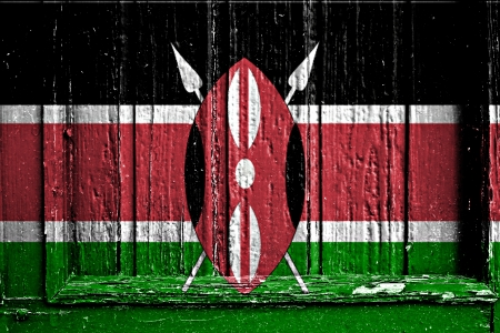 flag of Kenya painted on wooden frame photo