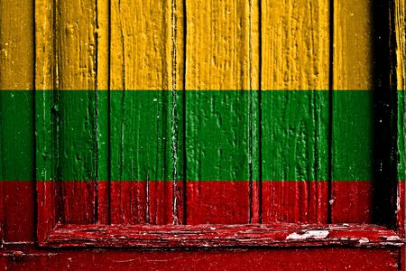 flag of Lithuania painted on wooden frame photo